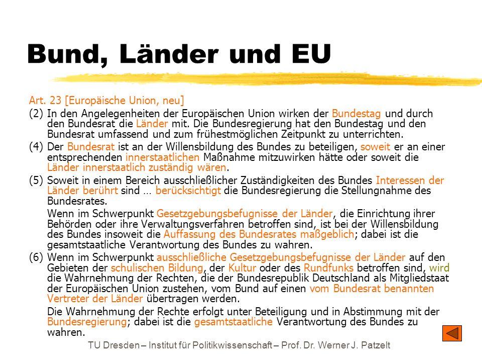 Bund, Länder und EU Art. 23 [Europäische Union, neu]